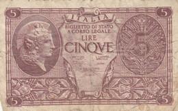 BIGLIETTO DI STATO LIRE 5  ITALIA F (KP793 - [ 1] …-1946: Königreich