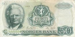 BANCONOTA 5O FEMTI KRONER NORVEGIA 1983 VF (KP832 - Norvegia