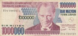 BANCONOTA TURCHIA 1000000 LIRA VF (KP848 - Turchia