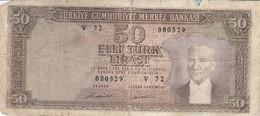 BANCONOTA TURCHIA 50 LIRA F (KP870 - Turchia