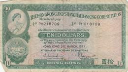 BANCONOTA HONG KONG 1977 10 DOLLARI VF (KP897 - Hongkong