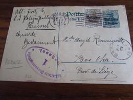 14-18: Carte Postale REPONSE N° 2 Affranchie à 3 Cent Et Oblitérée Bxl (mécanique) En 1917 (+ Arrivée à BAS-OHA).Censure - Andere Brieven