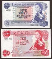 MAURITIUS. 5 + 10 Rupees 1967. Pick 30a, 31a. UNC. Same Low Serial Nº. - Mauritius