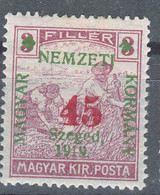 Hungary Szegedin Szeged 1919 Mi#41 I Mint Hinged - Szeged