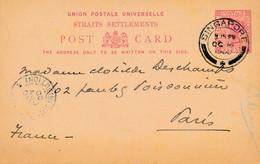 1 Entier Postal STRAITS SETTLEMENTS De SINGAPOUR Pour PARIS 1900 - Francobolli