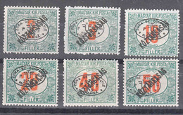Hungary Debrecen Debreczin 1919 Porto Mi#11-16 Mint Hinged - Debreczen