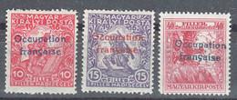 France Occupation Hungary Arad 1919 Yvert#1-3 Mi#3-5 Mint Hinged, Last Stamp Black Instead Of Blue Overprint - Neufs