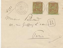 """Oblit. - Lettre Recommandée Du 27 Sept 1900 De Martigné - 2 Timbres """"Sage"""" 20c Orange Et Vert - Poststempel (Briefe)"""