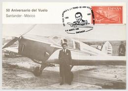 Maximumkarte 50 Aniversario Del Vuelo Santander - Mexico - Other