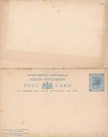 1 Entier Postal Avec Double  Cartes Une De  Reply STRAITS SETTLEMENTS 3 Cents Surchargé Two Cents - Francobolli