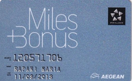 GREECE(chip) - Miles & Bonus, Aegean Airlines, Member Card, Exp.date 11/08/18, Used - Airplanes
