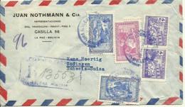 1949 Registered Air Mail Letter Frrom La Paz To Zofingen, Switzerland - Bolivia