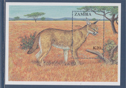 Bloc Neuf Zambie N°14 Félin D'Afrique, Caracal - Zambia (1965-...)