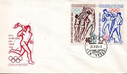 TCHECOSLOVAQUIE. N°1301 & N°1304 De 1963 Sur Enveloppe 1er Jour. Volley/Boxe Aux J.O. Tokyo. - Volleyball