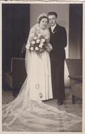 AK Foto Brautpaar - Hochzeit - Fotohaus Rauchfuss, Bensen - Ca. 1930/50  (51956) - Marriages