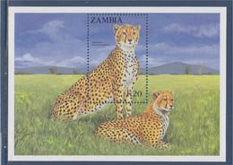 Bloc Neuf Zambie N°15 Félin D'Afrique, Cheetah, Timbre Dentelé - Zambia (1965-...)