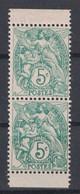 TIMBRE TYPE BLANC N° 111 NEUF ** En PAIRE VERTICALE ISSUE De CARNET Avec BORD BLANC SUR CHAQUE TIMBRE - 1900-29 Blanc
