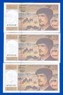 France  3  Billets  De  20  Fr  Suite - 1962-1997 ''Francs''