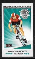 MONGOLIE   N° 1292  * *   NON  DENTELE  Jo 1984 Cyclisme - Cycling