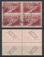 PONT DU GARD N° 262 OBLITÉRÉ En BLOC De 4 TIMBRES Avec PERFORATION SCOA OBLITÉRATION CAD PERFIN - 1900-29 Blanc