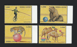 Sierra Leone 2000 Yv. 3132/3135 ** Cirque Circo Circus Funambule  Ours Bear Tigre Tiger Chameau Camel Dromadaire Bdf - Sierra Leone (1961-...)