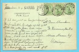 137 (x3) Op Kaart Met Stempel TERVUEREN - 1915-1920 Albert I
