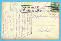 BZ2 Op Kaart Stempel  Geprüft Am...Postamt Maeseyck - WW I