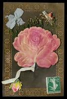 CPA Fantaisie Fleur Rose (support Rhodoïd Celluloïd)  Ajoutis Ruban Bleu * Fleurs Flower Flowers - Fleurs