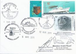 """Lettre """"M/V Vasiliy Golovnin"""" Avec Timbres Argentine N°2551, 2661 Et 2191 - Cachets Mars 2011 - Polare Shiffe & Eisbrecher"""
