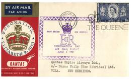 (O 17) Coronation Of Queen Elizabth II (London 1953 Postmark) QANTAS (Port Vila New Hebrides Postmark At Back) - Vanuatu (1980-...)