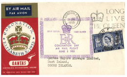 (O 17) Coronation Of Queen Elizabth II (London 1953 Postmark) QANTAS (partial Cocos Island Postmark At Back) - Cocos (Keeling) Islands