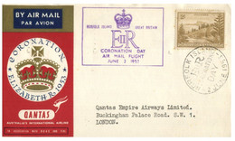 (O 17) Coronation Of Queen Elizabth II (Norfolk Island 1953 Postmark) QANTAS (Posted To Buckingham Palace Road) - Norfolkinsel
