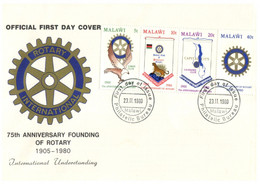 (O 17) Malawi FDC - Rotary International 75th Anni - 1980 - Rotary, Club Leones