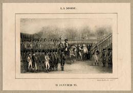 LA MODE RARE Antique Print Execution Of King Louis XVI Of France Guillotine Executioner Lithographie Caboche - Prenten & Gravure