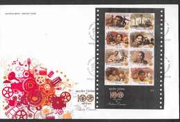 INDIA, 2013, SET Of 6 FDCS, Indian Cinema,  Each With 6 Different Miniature Sheets, Jabalpur Cancellation - FDC