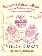 VIERS-DOAZAN  Manufacture Articles De Voyage   TOULOUSE     1892 TOP Illustration - Wechsel