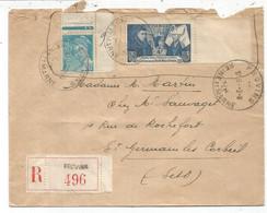 N° 583 BDF + 549 LETTRE Défaut OuvertuRe En Haut REC PROVINS 2.9.1943 AU TARIF - Postmark Collection (Covers)