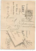 BLANC 1C GRIS SOUS BANDE CARTE  PARIS OBL IMPRIMES PARIS PP 1901  POUR NIMES GARD - 1900-29 Blanc