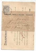 BLANC 1C GRIS SOUS BANDE CARTE  PUB DRAPERIE ELBEUF SEINE INFERIEURE CONVOYEUR LE TEIL A NIMES 1901 POUR NIMES - 1900-29 Blanc