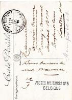 Griffe POSTES MILITAIRES N° 5 BELGIQUE + Cachet PMB Sans N° Sur CV Vers L'Angleterre (1916) - Belgisch Leger