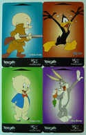New Zealand - GPT - Set Of 4 -  Looney Tunes Part 1 - 1997 - Bugs Bunny, Elmer Fudd, Porky Pig & Daffy Duck - Mint - Nuova Zelanda