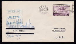 Bordstempel SS Malolo Auf Brief Ab Honolulu Hawaii JUL 16 1936 - Sellos