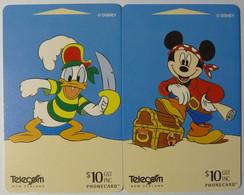 New Zealand - GPT - Set Of 2 - Stars Of Silver Screen Part 2 - Mickey & Donald - Pirates Of Caribbean - Mint - Nuova Zelanda