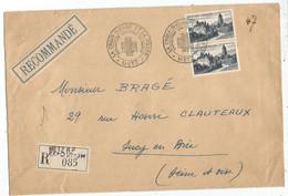 ARBOIS 30FR PAIRE GRANDE LETTRE REC LA CROIX ROUGE METZ 14 DEC 1952 - 1921-1960: Moderne