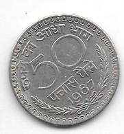 *india 50 Paisa 1967 B   Km 58.1   Xf - India