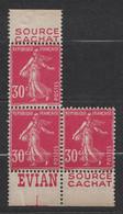 BLOC DE 3 EXEMPLAIRES NEUF ** ISSU DE CARNET TYPE SEMEUSE 191 Avec BANDE PUB SOURCE CACHAT EVIAN - Publicités