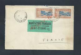 LETTRE SUR PAIRE DE TIMBRES DE LA RÉUNION 1930 POINTE DES GALETS MANUFACTURE D ARMES & CYCLES À SAINT ETIENNE FRANCE - La Isla De La Reunion (1852-1975)