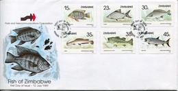 Zimbabwe Mi# 406-11 Used On Official FDC  - Fauna Fish - Zimbabwe (1980-...)