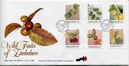 Zimbabwe Mi# 460-5 Used On Official FDC  - Flora Fruits - Zimbabwe (1980-...)