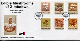 Zimbabwe Mi# 476-81 Used On Official FDC  - Fungi - Zimbabwe (1980-...)